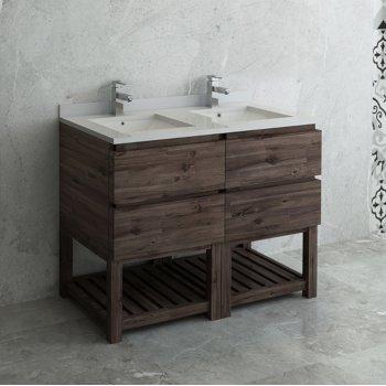 """Fresca Formosa 48"""" Floor Standing Open Bottom Double Sink Modern Bathroom Vanity Base Cabinet w/ Top & Sinks, Base Cabinet: 48"""" W x 20-3/8"""" D x 34-7/8"""" H"""