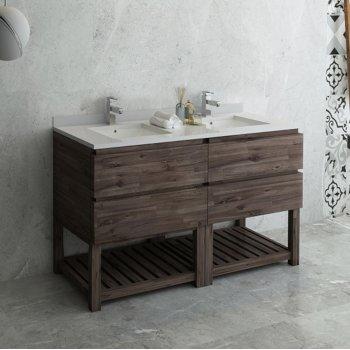 """Fresca Formosa 60"""" Floor Standing Open Bottom Double Sink Modern Bathroom Vanity Base Cabinet w/ Top & Sinks, Base Cabinet: 60"""" W x 20-3/8"""" D x 34-7/8"""" H"""