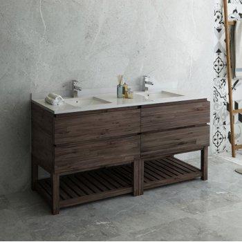 """Fresca Formosa 72"""" Floor Standing Open Bottom Double Sink Modern Bathroom Vanity Base Cabinet w/ Top & Sinks, Base Cabinet: 72"""" W x 20-3/8"""" D x 34-7/8"""" H"""