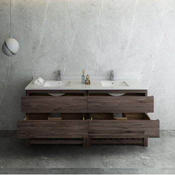 """Formosa 72"""" Vanity w/ Top & Sinks Opened View"""