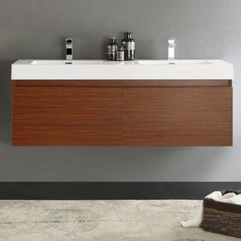 Mezzo 60 Wall Hung Double Sink Modern Bathroom Vanity W Medicine Cabinet Set By Fresca Kitchensource Com