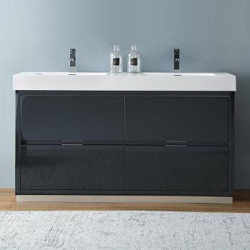 "Fresca Valencia 60"" Dark Slate Gray Free Standing Double Sink Modern Bathroom Vanity, Vanity Base: 60"" W x 19"" D x 34"" H, Sink: 19-11/16"" W x 12-5/16"" D x 4-4/5"" H"