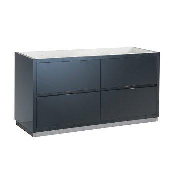 "Fresca Valencia 60"" Dark Slate Gray Free Standing Double Sink Modern Bathroom Cabinet , Vanity Base: 60"" W x 19"" D x 30"" H"