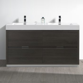 "Fresca Valencia 60"" Gray Oak Free Standing Double Sink Modern Bathroom Vanity, Vanity Base: 60"" W x 19"" D x 34"" H, Sink: 19-11/16"" W x 12-5/16"" D x 4-4/5"" H"