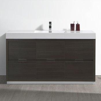 "Fresca Valencia 60"" Gray Oak Free Standing Modern Bathroom Vanity, Vanity Base: 60"" W x 19"" D x 34"" H, Sink: 21-7/8"" W x 12-5/16"" D x 4-4/5"" H"