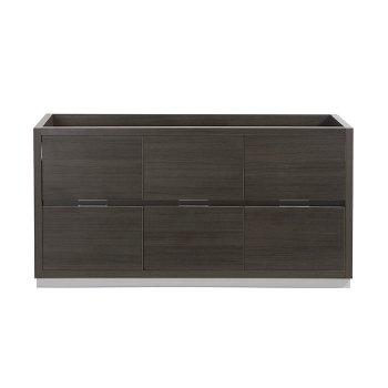 """60"""" Gray Oak Single Sink Front View"""