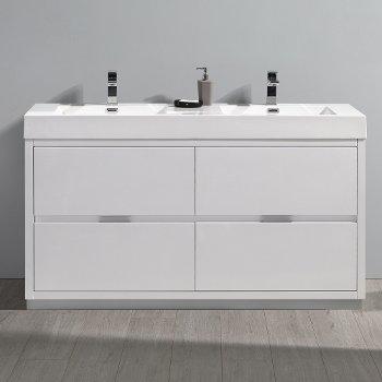 "Fresca Valencia 60"" Glossy White Free Standing Double Sink Modern Bathroom Vanity, Vanity Base: 60"" W x 19"" D x 34"" H, Sink: 19-11/16"" W x 12-5/16"" D x 4-4/5"" H"