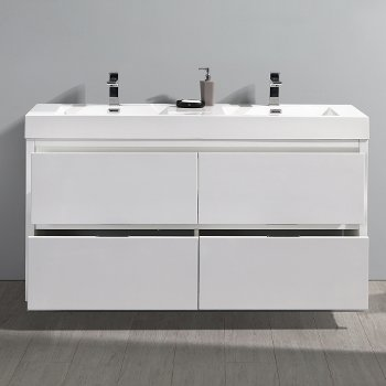 """60"""" Glossy White Double Sink  Front View"""