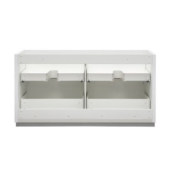 """60"""" Glossy White Double Sink Back View"""