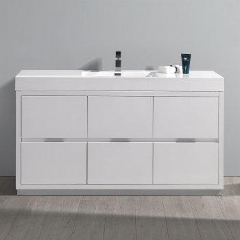 "Fresca Valencia 60"" Glossy White Free Standing Modern Bathroom Vanity, Vanity Base: 60"" W x 19"" D x 34"" H, Sink: 21-7/8"" W x 12-5/16"" D x 4-4/5"" H"