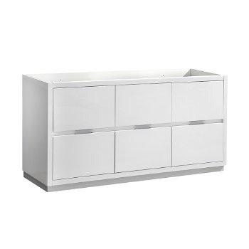 "Fresca Valencia 60"" Glossy White Free Standing Single Sink Modern Bathroom Cabinet , Vanity Base: 60"" W x 19"" D x 30"" H"