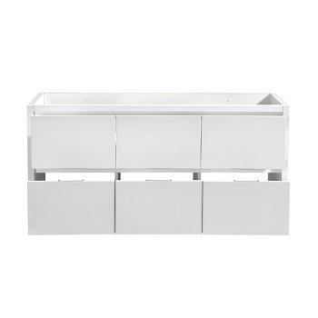 """60"""" Glossy White Single Sink Opened Front View"""