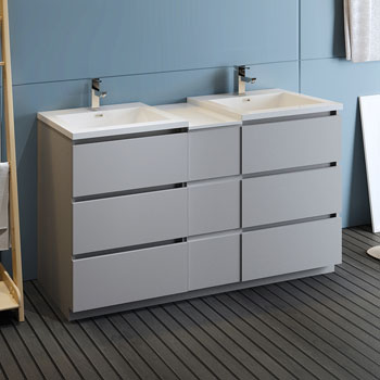 """60"""" Gray Partitioned Cabinet with Sink Side View"""