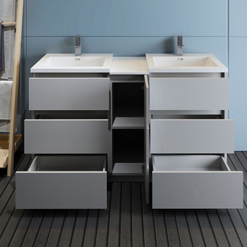 """60"""" Gray Partitioned Cabinet with Sink Drawers Open"""
