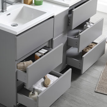 """60"""" Gray Partitioned Cabinet with Sink Overhead View"""
