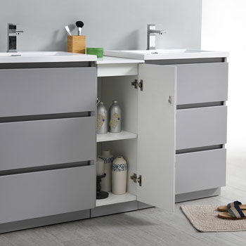 """60"""" Gray Partitioned Cabinet with Sink Close Up"""