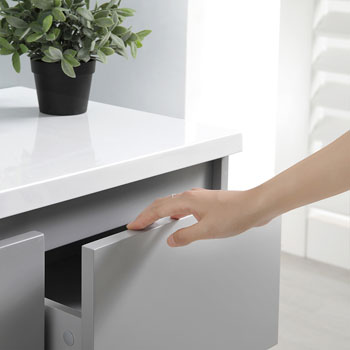 """60"""" Gray Partitioned Cabinet with Sink Top"""