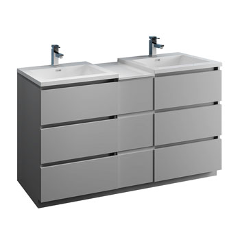 """60"""" Gray Partitioned Cabinet with Sink Product View"""