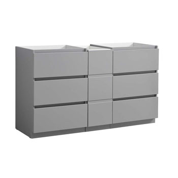 """60"""" Gray Partitioned Cabinet Only Side View"""