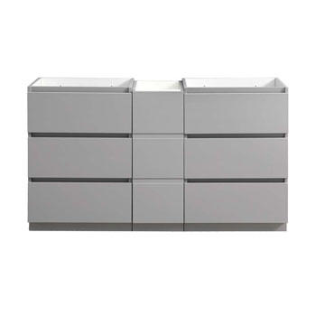 """60"""" Gray Partitioned Cabinet Only Front View"""