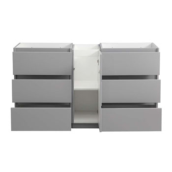 """60"""" Gray Partitioned Cabinet Only Drawers Open"""