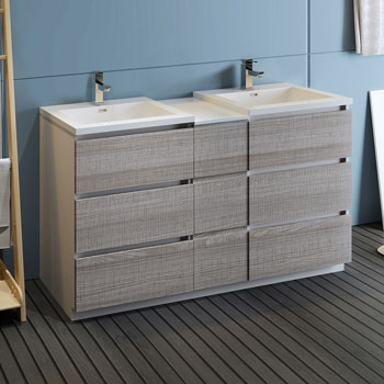 """60"""" Glossy Ash Gray Partitioned Cabinet with Sink Side View"""