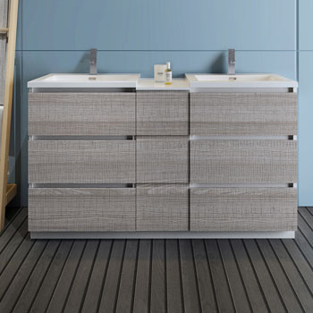 """60"""" Glossy Ash Gray Partitioned Cabinet with Sink Front View"""