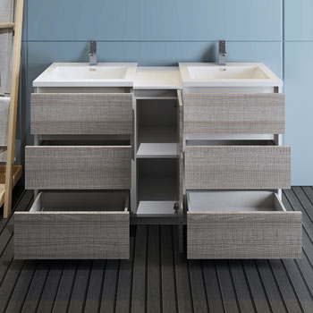 """60"""" Glossy Ash Gray Partitioned Cabinet with Sink Drawers Open"""