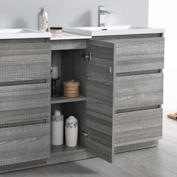 """60"""" Glossy Ash Gray Partitioned Cabinet with Sink Cabinet Open"""