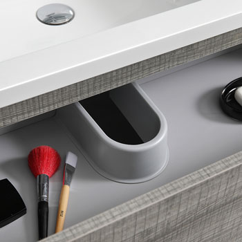"""60"""" Glossy Ash Gray Partitioned Cabinet with Sink Top Drawer"""