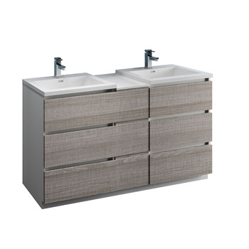 """60"""" Glossy Ash Gray Partitioned Cabinet with Sink Product View"""