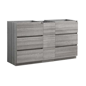 """60"""" Glossy Ash Gray Partitioned Cabinet Only Side View"""