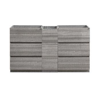 """60"""" Glossy Ash Gray Partitioned Cabinet Only Front View"""