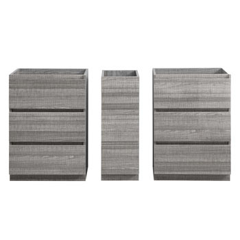 """60"""" Glossy Ash Gray Partitioned Cabinet Only Split View"""
