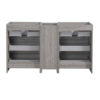 """60"""" Glossy Ash Gray Partitioned Cabinet Only Inside View"""
