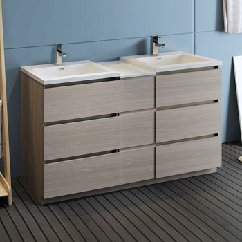 """60"""" Gray Wood Partitioned Cabinet with Sink Side View"""