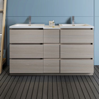 """60"""" Gray Wood Partitioned Cabinet with Sink Front View"""