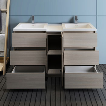 """60"""" Gray Wood Partitioned Cabinet with Sink Drawers Open"""