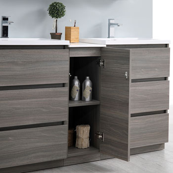 """60"""" Gray Wood Partitioned Cabinet with Sink Cabinet Open"""