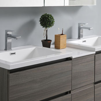 """60"""" Gray Wood Partitioned Cabinet with Sink Edge Close Up"""