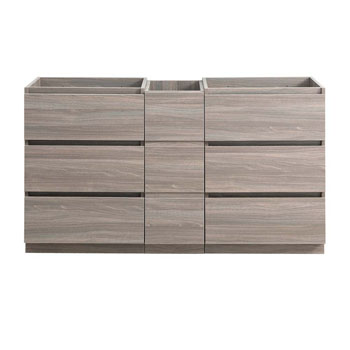 """60"""" Gray Wood Partitioned Cabinet Only Front View"""
