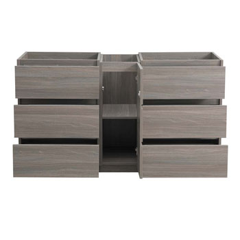 """60"""" Gray Wood Partitioned Cabinet Only Drawers Open"""