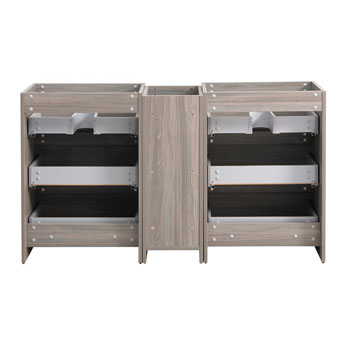 """60"""" Gray Wood Partitioned Cabinet Only Inside View"""
