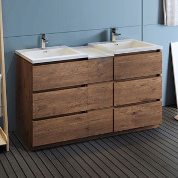 """60"""" Rosewood Partitioned Cabinet with Sink Side View"""