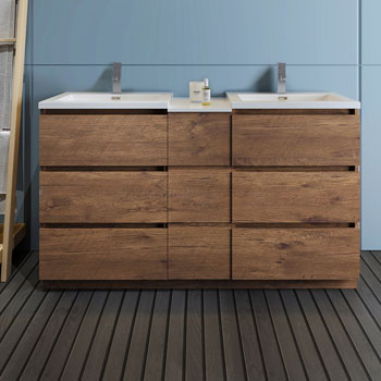 """60"""" Rosewood Partitioned Cabinet with Sink Front View"""