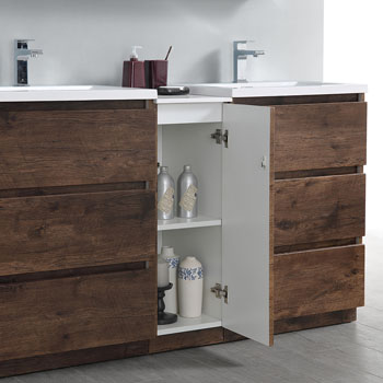 """60"""" Rosewood Partitioned Cabinet with Sink Cabinet Open"""