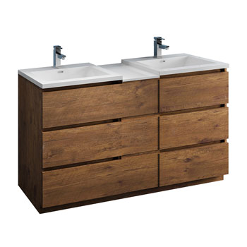 """60"""" Rosewood Partitioned Cabinet with Sink Product View"""