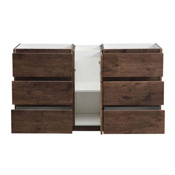 """60"""" Rosewood Partitioned Cabinet Only Drawers Open"""