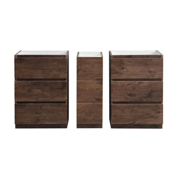 """60"""" Rosewood Partitioned Cabinet Only Split View"""