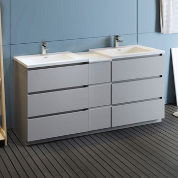 """72"""" Gray Partitioned Cabinet with Sink Side View"""